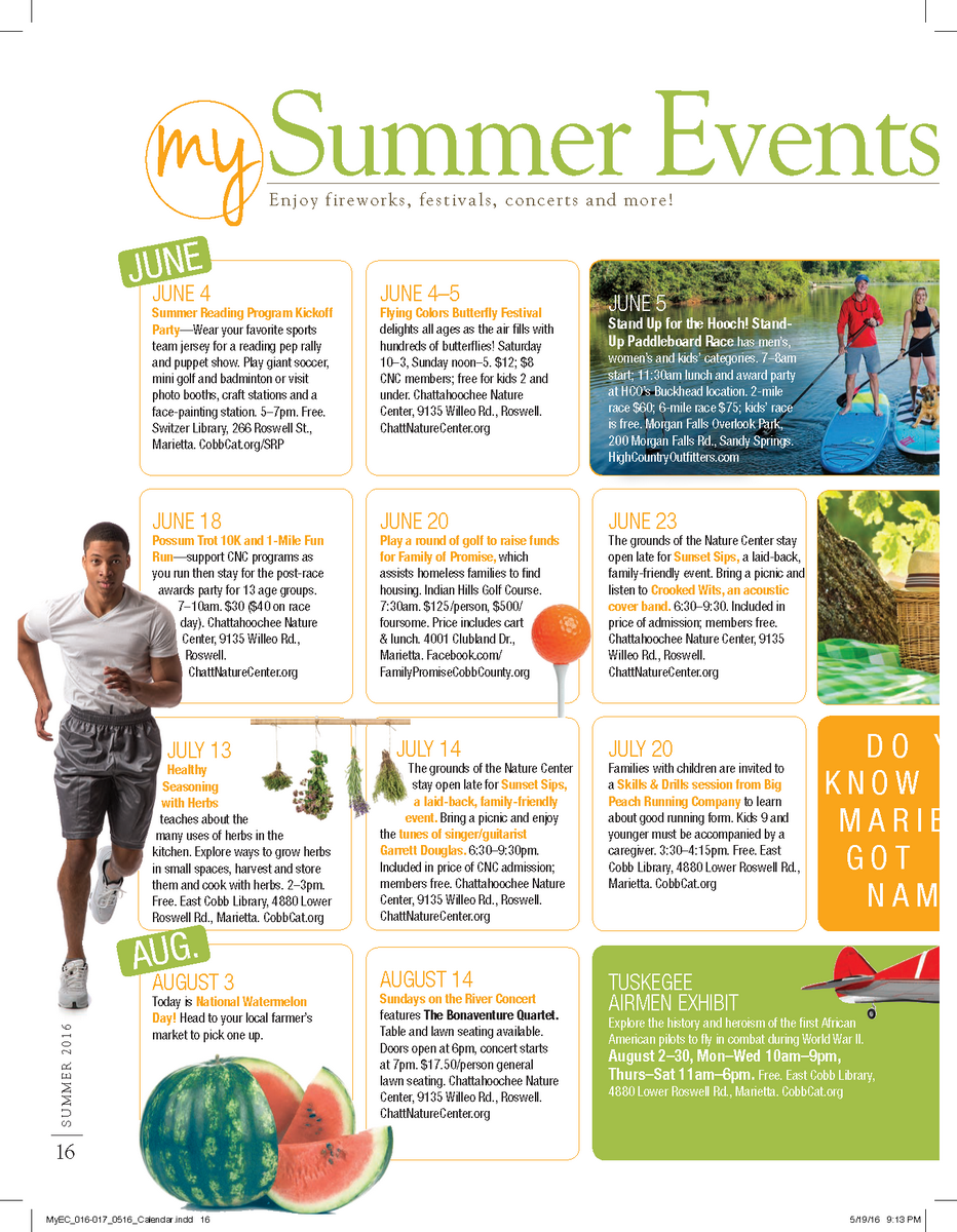 Summer Events Calendar East Cobb