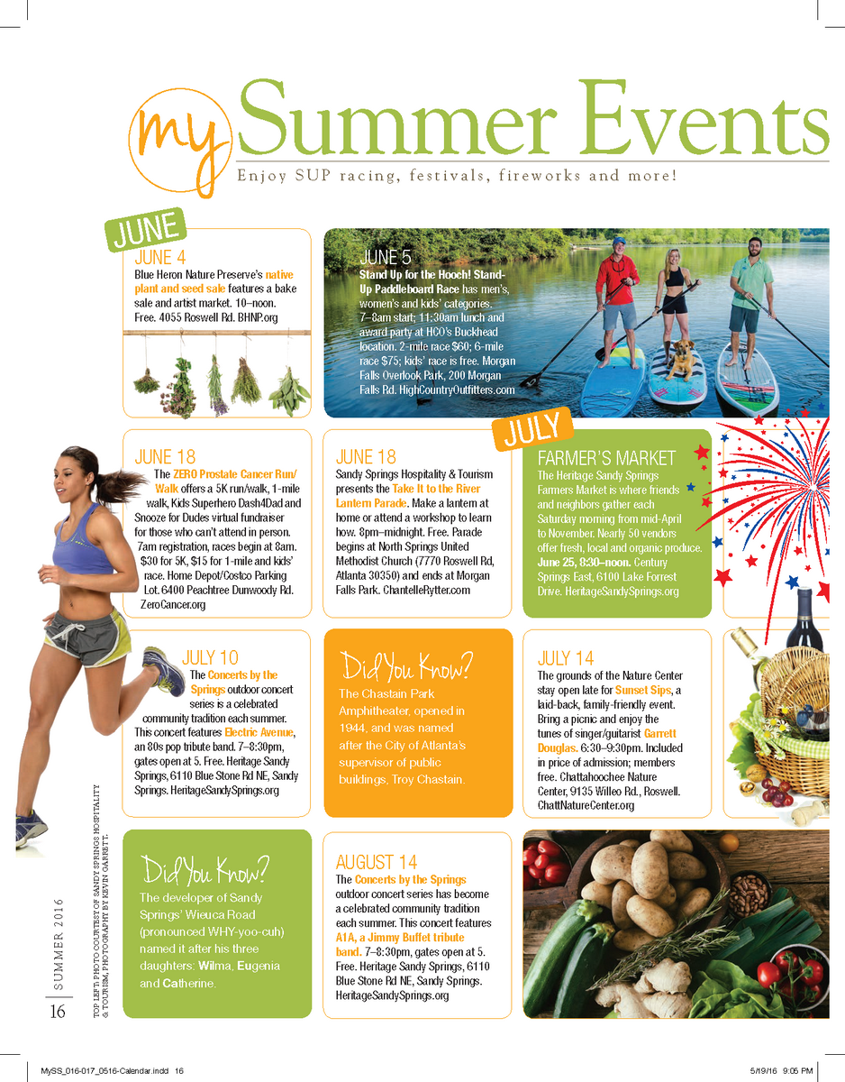 Summer Events Calendar Sandy Springs